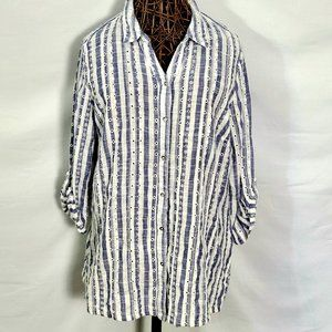 Chicos 2 Stripe Lace Shirt Top Large 12/14 White L